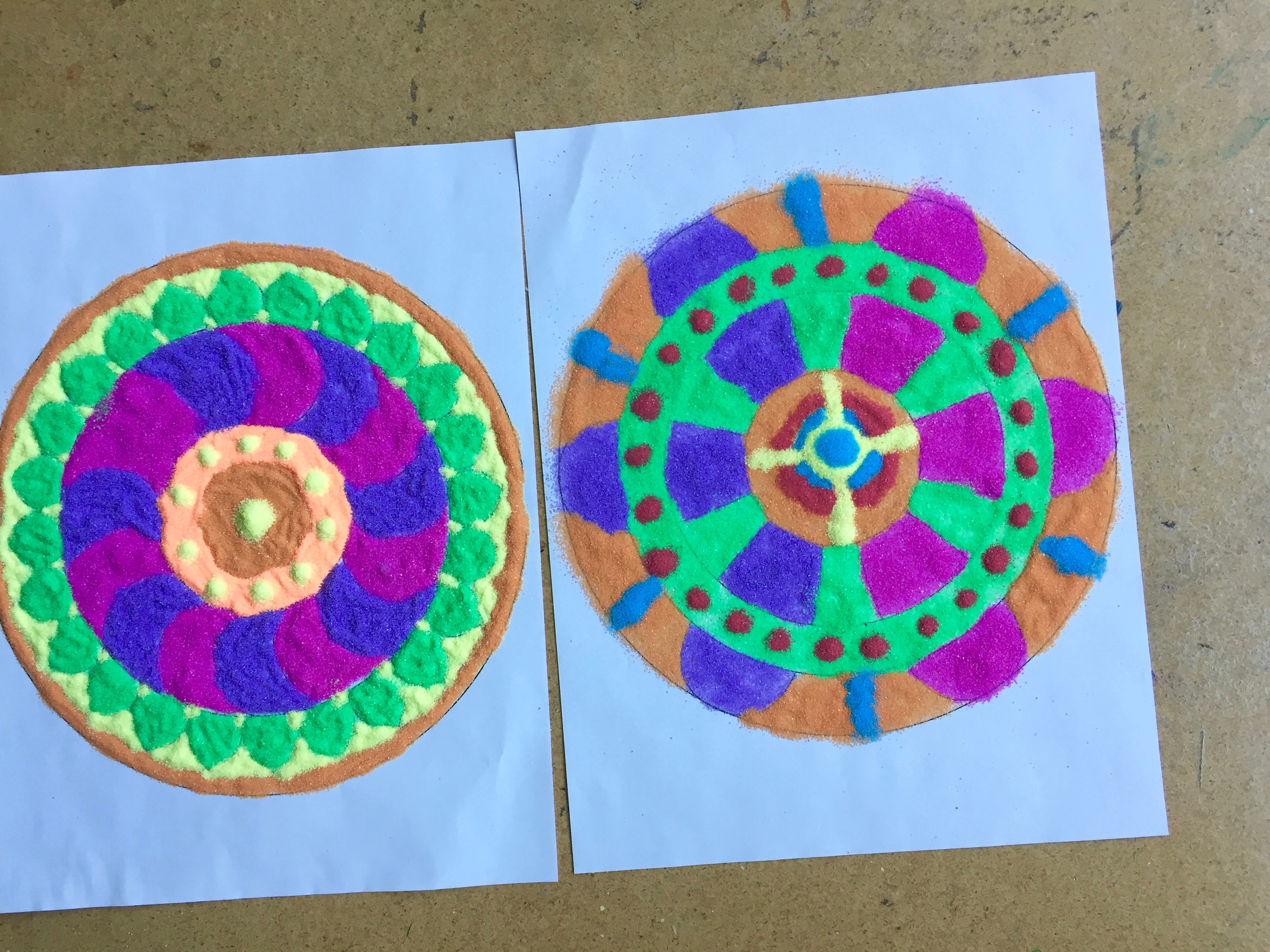 Mandalas by M.K. (left) and D.T. (right)