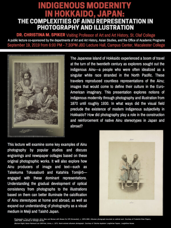 Public Lecture // Indigenous Modernity in Hokkaido, Japan: the Complexities of Ainu Representation in Photography and Illustration (Macalester College)