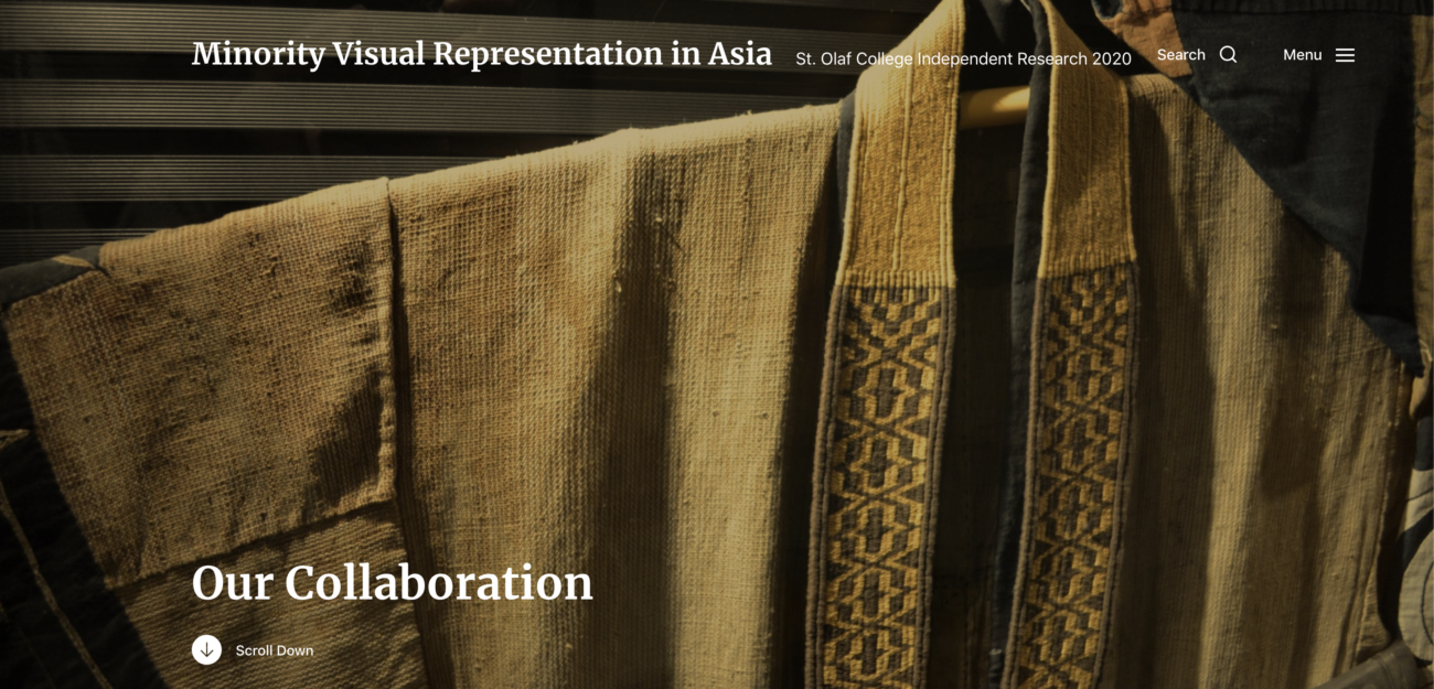 Website // Minority Visual Representation in Asia: St. Olaf College Independent Research 2020 (WordPress)